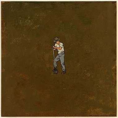 Dick Frizzell, Man Digging, 2008, oil on board, 55 x 55 cm