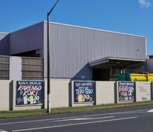 Hiria Anderson, Reka Deals, 2021; Tasty Super Savers, 2021; Sonny's Takeaways, 2021: three digital prints on vinyl, 3 x 2400 mm x 3000 mm. Commissioned by Te Tuhi, Tāmaki Makaurau, Auckland. Photo by Sam Hartnett